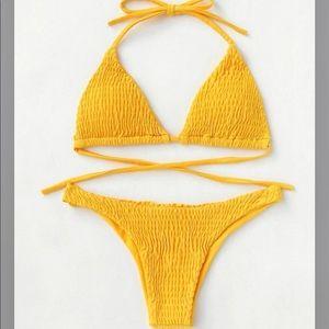 shein yellow smocked bikini